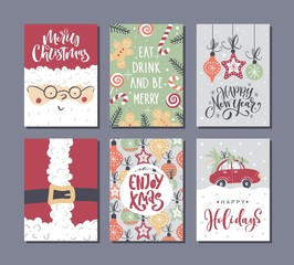 Vector Merry Christmas and Happy New Year greeting card set with Handwritten modern lettering.