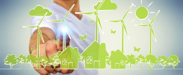 Businessman touching renewable energy sketch