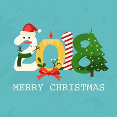 Christmas 2018 Greeting Card. Flat design modern vector illustration concept.