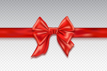 Realistic red satin bows isolated on checkered background. Template for brochure or greeting card. Vector illustration.