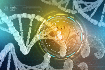 Genetic Engineering. The study of the structure of DNA and RNA, the introduction of changes at the gene level. Modern medical research of stem cells. 3D illustrations