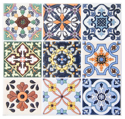 Garden Poster Moroccan Tiles Colorful vintage ceramic tiles wall decoration.Turkish ceramic tiles wall background
