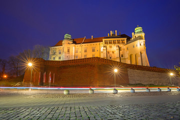 The Royal Wawel Castle in Krakow at night, Poland