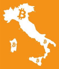 Italy map with bitcoin crypto currency symbol illustration