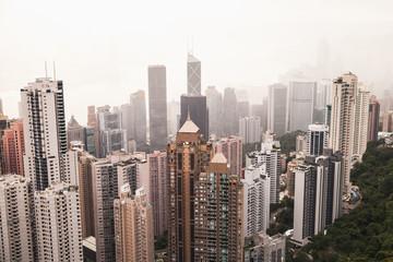 Hong Kong in foggy day, view from Victoria Peak