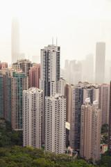 Modern skyline of Hong Kong city in foggy day