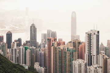 Hong Kong city in foggy day, aerial view