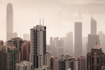 Skyline of Hong Kong city in foggy day
