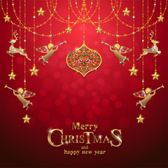 Christmas Greeting and New Years card templates with gold patterned and crystals on background color.