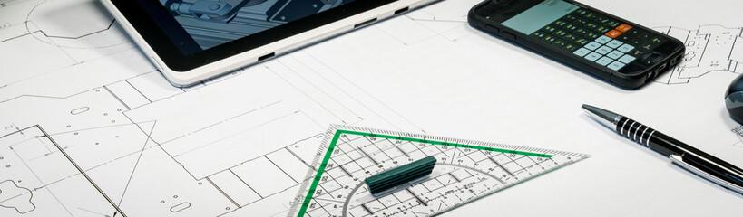 Konstruktion für den Maschinenbau - technische Zeichnung, Banner