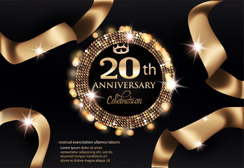 20th anniversary celebration party invitation card with gold frame and ribbons. Vector illustration