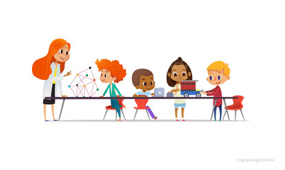 Redhead female teacher and school children standing and sitting around table, building and programming robotic car during engineering lesson. Vector illustration for banner, poster, advertisement.