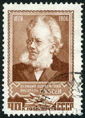USSR - 1956: shows Henrik Johan Ibsen (1828-1906), playwright