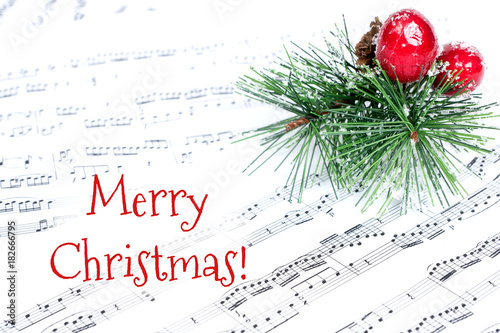 Merry christmas greeting card with pine tree branch and musical merry christmas greeting card with pine tree branch and musical notes m4hsunfo