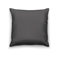 Black Pillow. Blank Mock Up for Presentation of Surface Design and Logotypes. Vector Isolated Illustration