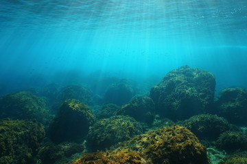 Underwater seascape with natural sunlight through water surface and rocks on the seabed, Mediterranean sea, Cote d'Azur, France