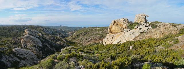 Wild landscape panorama with strange rock formation in Cap de Creus natural park, Spain, Costa Brava, Catalonia, Girona, Mediterranean