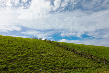 Green hill with fence