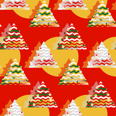 wrapping paper seamless pattern with christmas trees in red