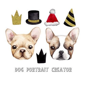 Dog portrait creator. Hand drawn vector  watercolor illustration
