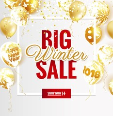 Big winter sale poster. Beautiful winter background with golden balloons and frame. Voucher discount. Vector illustration