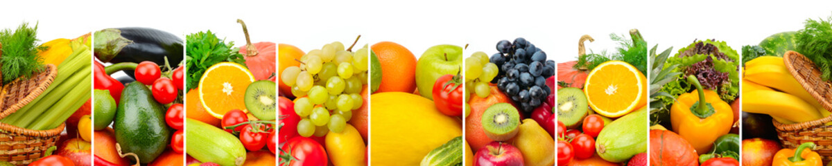 Panoramic collection fruits and vegetables isolated on white background. Wide photo with free space...
