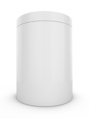 3D Rendering Blank Advertising cylinder on white background