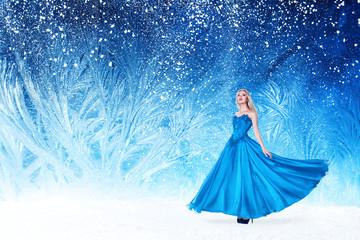 Beautiful woman in fairy tale forest