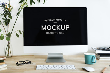 Mockup design space on computer screen