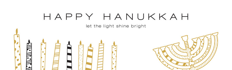Hanukkah greeting banner , Jewish holiday symbols. golden hanukkah menora and candles