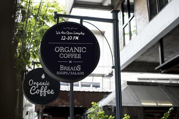 Organic coffee advertisement board