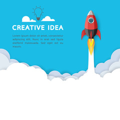 Creative idea with rocket ship icon.Business start up concept paper art style design.Vector illustration.