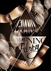 Grand opening party invitation card with air balloons, ribbons, bottles of champagne and triangles. Vector illustration