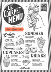 Dessert menu restaurant, food template.