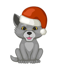 Cute cub wolf in a red Santa Claus hat isolated on white background. The cartoon style. Vector illustration.