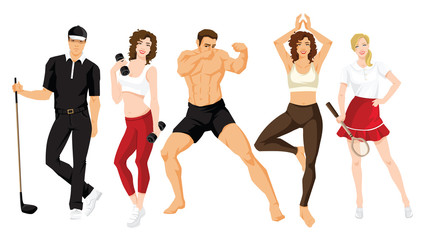 illustration of young man and woman in sportswear isolated on white background. Group of people in clothes for sport or fitness