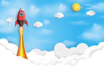 Rocket ship icon into blue sky.Business start up concept design paper art style.Vector illustration.