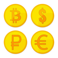 Gold coins different currency. Bitcoin, dollar, euro, ruble, bitcoin signs for business, finance, exchange money theme.