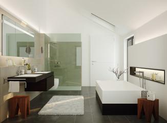 3d Illustration of modern luxury wellness bathroom - modernes Luxus Bad in Einfamilienhaus
