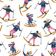 Wektor zima ilustracja narciarzy. Sportowe dzieci w ośrodku narciarskim. Modny design skandynawski. Bezszwowy wzór na białym tle. - 182675705