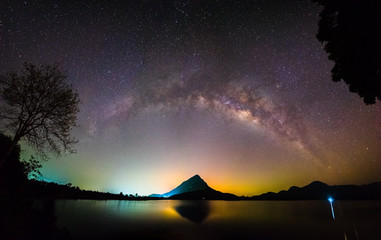 Night landscape mountain with milky way galaxy in background, Lam-Isu Reservoir, Kanchanaburi, Thailand. Colorful city light, long exposure, low light.