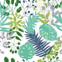 seamless pattern of blue and green plants on a white background