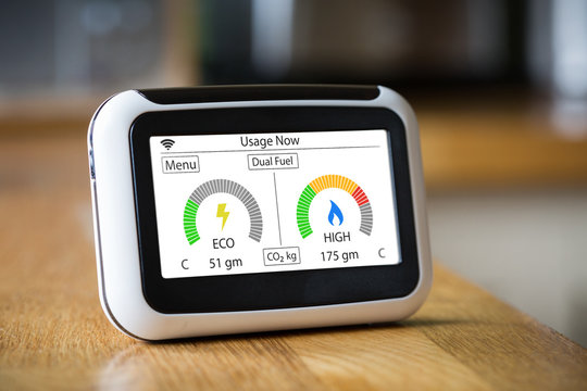 Smart Meter Showing Dual Fuel Carbon Emissions