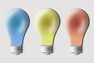Tres bombillas de color azul, amarillo y rojo.