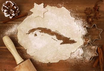 Cookie dough cut as the shape of Cuba (series)
