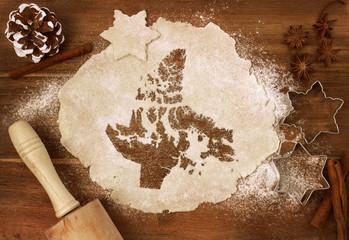 Cookie dough cut as the shape of Nunavut (series)