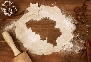 Cookie dough cut as the shape of Belgium (series)