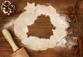 Cookie dough cut as the shape of Belarus (series)