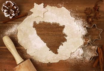 Cookie dough cut as the shape of Bosnia and Herzegovina (series)