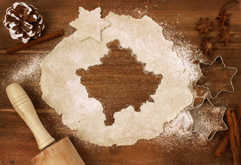 Cookie dough cut as the shape of Kosovo (series)